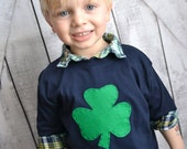 St Patricks Day Boys Shamrock Shirt with Felt Applique in Navy and Green