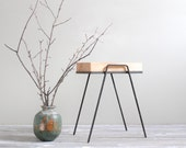 Vintage Mid Century Metal Stand with Solid Wood Top | Plant Stand, Side Table, End Table