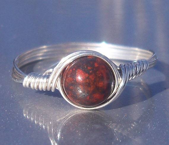 Red Poppy Jasper Argentium Sterling Silver Wire Wrapped Ring