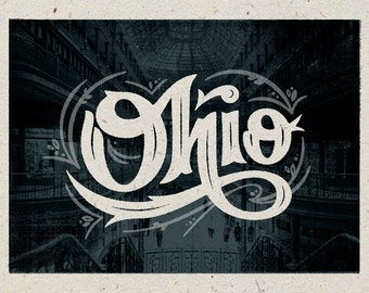 "Ohio Print - 12"" x 9"" French Speckletone Madero Beach, Vintage Inspired"