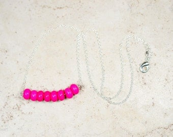 Hot Pink Gemstone Beaded Necklace, Magenta Stone Bar Cluster, Minimalist Jewelry, Modern Layering Necklace, Faux Turquoise