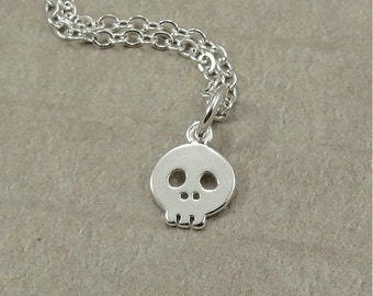 Skull Necklace, Silver Skull Charm on a Silver Cable Chain