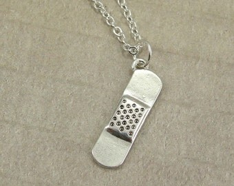 Band-Aid Necklace, Silver Bandaid Charm on a Silver Cable Chain