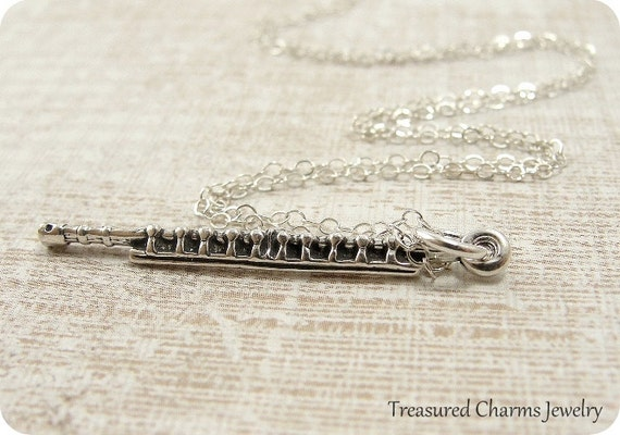 Flute Necklace, Sterling Silver Flute Charm on a Silver Cable Chain