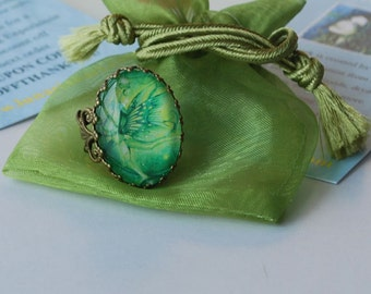 Absinthe Faerie Ring - Faerie Ring - Green Faerie Ring - Green Irish Faerie - Faerie Charm Ring