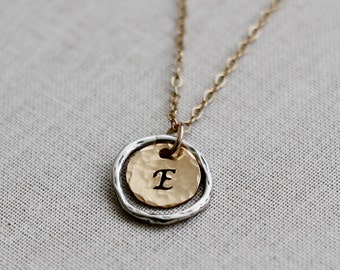 Karma Necklace, Eternity Necklace, Initial Necklace, Sterling Silver & Gold Filled, Gold Disc Necklace for women, everyday jewelry