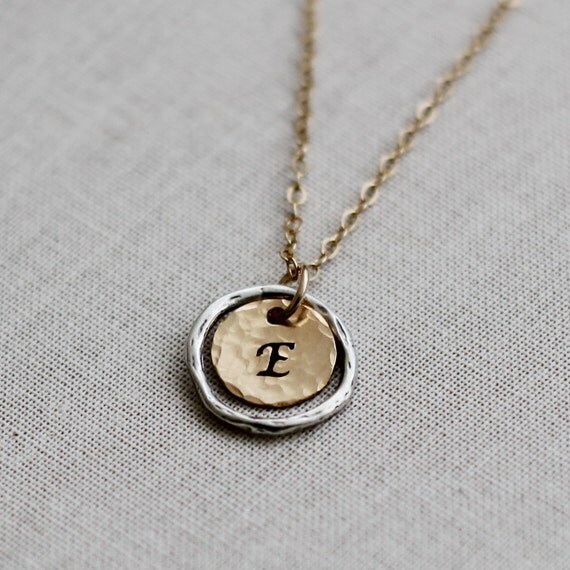 eternity circle initial necklace two tone gold by