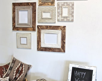 Rustic Distressed Frame Raw Wood Gallery of Frames