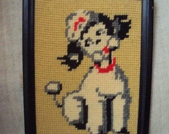 Vintage 70s  Crewel Needlepoint Embroidered Girl Poodle Puppy Dog Picture