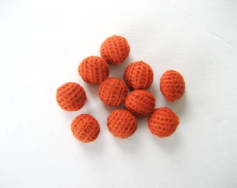 10 Vintage Crocheted Burnt Orange Buttons