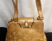 Vintage 1950's Gold Brocaded Leather Cameo Evening Bag