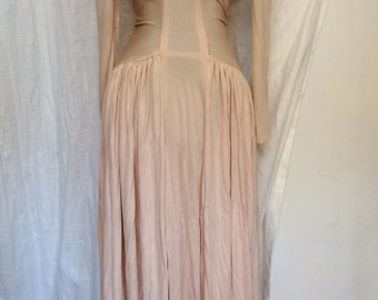 Elegant Vintage 1940's Blush Pink Jersey Formal Dress Evening Gown