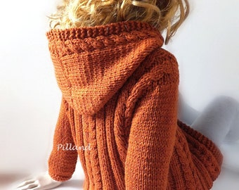 Childrens Toddlers Knit Hoodie, Cable Knit Jacket, Children's Coat, Many Colors Available