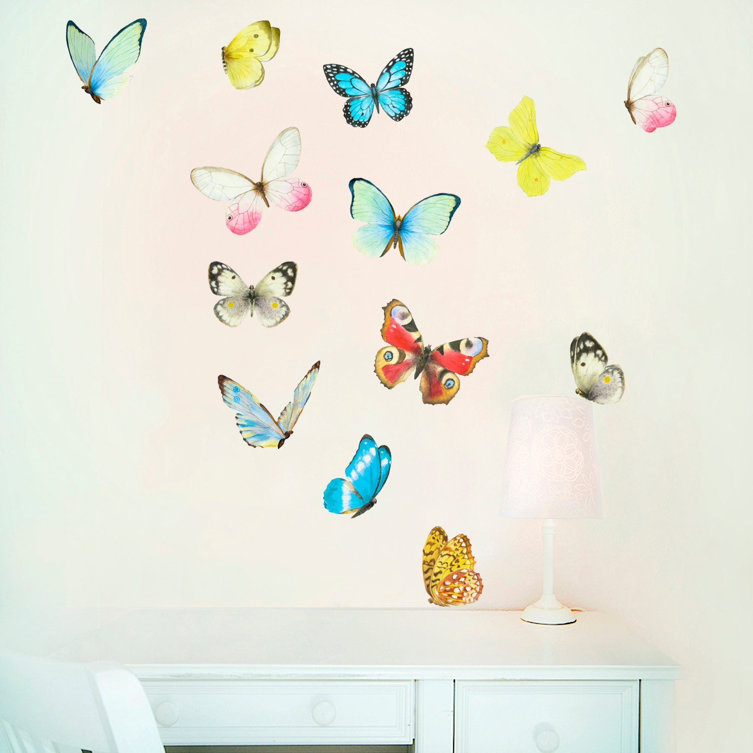 Butterflies wall art butterfly wall decal playroom art for Butterfly wall mural stickers