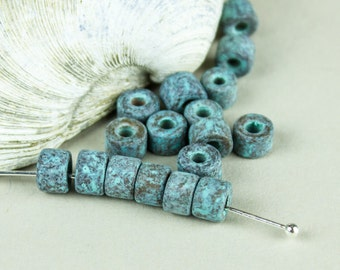 12 Green Patina Copper Mykonos Greek Beads, Ceramic Mini Tube Bead MORE for LESS 6X4mm Craft Jewelry supplies Diy