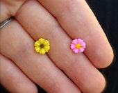 Pink or Yellow Flower Surgical Steel Stud Earring. Perfect for Helix and Cartilage Piercings.