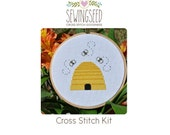 Bee Hive Cross Stitch Kit, DIY Kit, Embroidery Kit