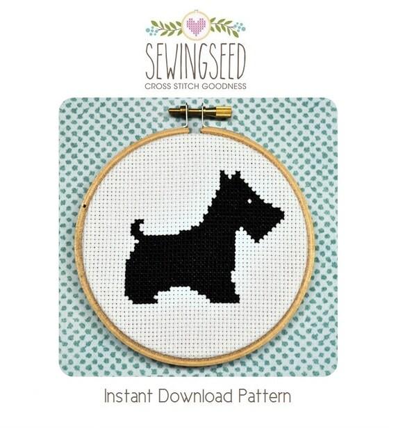 Scottie Dog Cross Stitch Pattern Instant Download