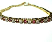 """Ruby Tennis Link Bracelet Vintage Ruby and Diamond Bracelet Genuine Rubies and Diamonds in solid 10k Gold w Safety Clasp 7"""" long"""