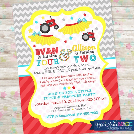 Items similar to Tutus and Tractors Invite, Brother and ...
