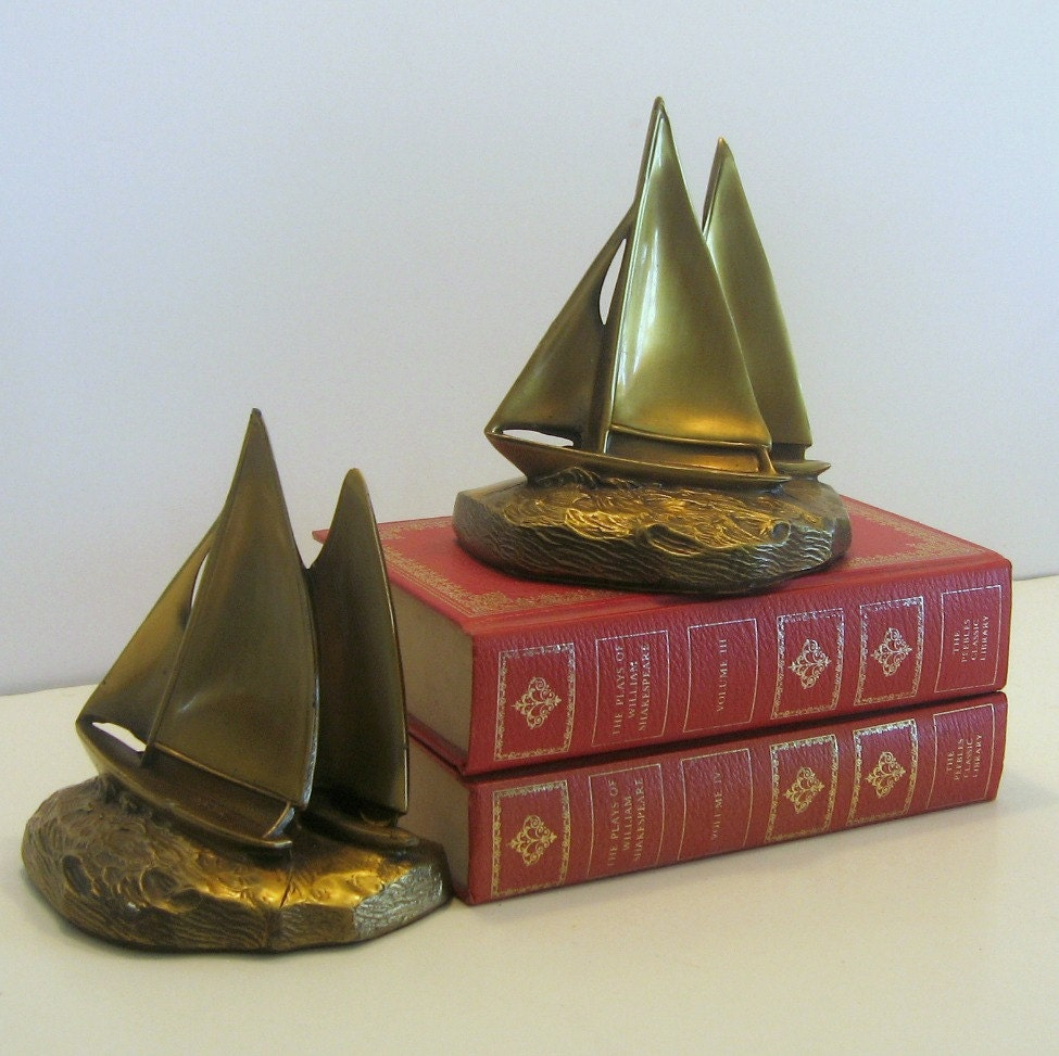 Vintage brass sailboat bookends vintage brass book ends - Antique brass bookends ...