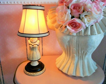 Victorian MANNEQUIN DRESS FORM Lamp Boudoir Fabric Shade French Corset Torso Bust Table Nightlight Beige Black Lampshade Vintage Lady Woman