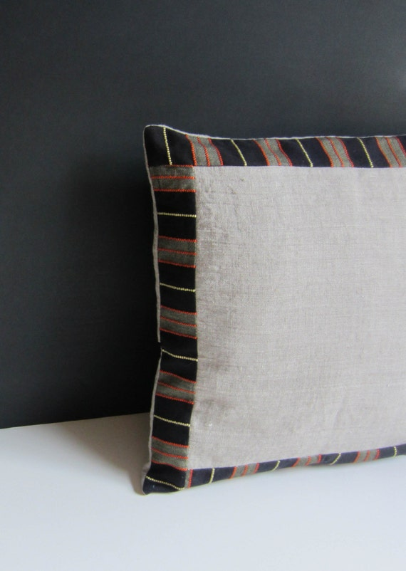 Linen and vintage stripe pillow cover