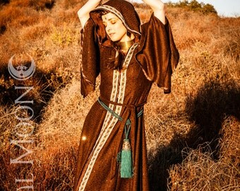 SALE: The Hooded Sequin Priestess Cloak (Elven Sweater Coat) in Chocolate Brown with vintage trim (Size S, M, or L)