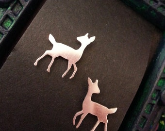 Sterling Silent Fawn tiny post earrings