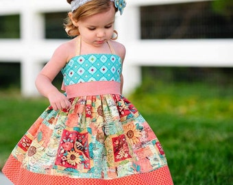 Elise Halter Dress Sewing Pattern, Girls Dress Pattern, Halter Dress Pattern, Easy Dress Pattern, Matilda Jane Pattern, Tween Dress Pattern