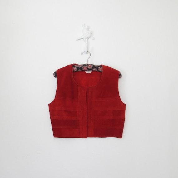 Bolero Vest * Vintage Leather Vest * 70s Bohemian Suede Vest * Medium