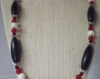 Black Stone and Carnelian Necklace