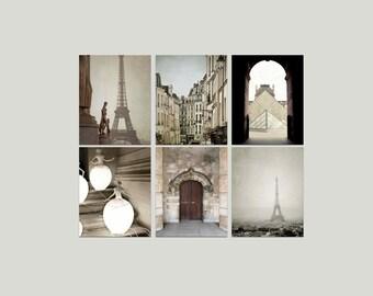 SALE, Paris Prints, Beige, Brown, Neutral, Rustic, Paris Photography, Set of 6 Photos, Eiffel Tower, Save 50%