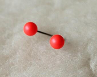 Niobium Post Earrings - Neon Red Swarovski Pearls - Hypoallergenic Earrings for Sensitive Ears / Nickel Free Stud Earrings