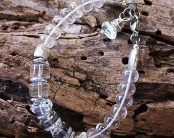 Handmade Jewelry, Chunky OOAK Crystal Quartz Bracelet, Bohemian Glam Handcrafted Artisan Sterling Silver Bracelet