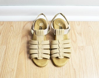 SALE / Shoes Sandals Cage T Strap / Suede Nubuck Leather / Neutral Nude / Gladiator Granny / 80s Vintage / Size 8.5 / Euro 39