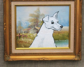 Dog Portrait , Vintage Painting , Dog Painting , Wil Shepherd , Painting , Art ,  Fine Art ,  Original ,  Wil Shepherd Studio , White Dog