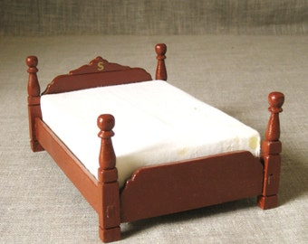 Vintage Handmade Wooden Folk Art Doll Bed, Dollhouse Furniture, Doll House, Miniature, Toy, Signed and Dated, Hand Carved, Bedroom, Full