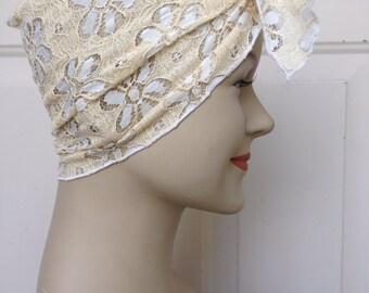 Lace Hair Scarf - Cream Floral