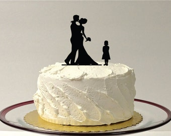 wedding cake toppers bride groom daughter made in usa silhouette cake topper with pet 48 different 26425