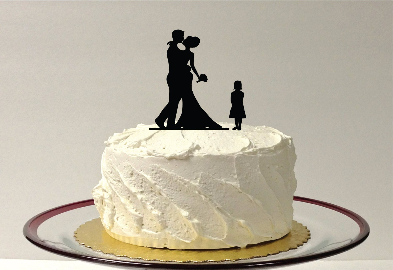 FAMILY OF 3 Silhouette Wedding Cake Topper Bride Groom Child