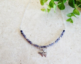 Sapphire Necklace Sterling Silver Montana Bear  Rustic woodland tribal wildlife faceted gemstone jewelry pyrite