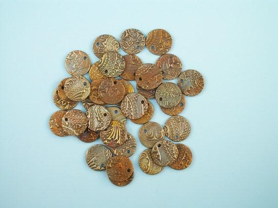 Artisan Bronze Coin Beads Fine Paisley Pattern 4 pack
