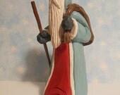 Hand Carved  Santa Wood Whittled Old World Folk Art Original Christmas Sculpture Collectible