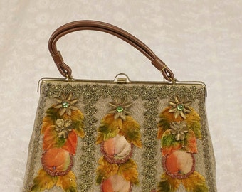 Vintage 50s 60s Hand Decorated Autumn Themed Hand Bag Purse by Caron, New, NWT