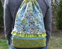Backpack Sewing Pattern, Drawstring Backpack, Easy Sewing Pattern, rucksack,  Drawstring Bag, Knitting Bag, Cinch Sac, Gym Bag, sleepover
