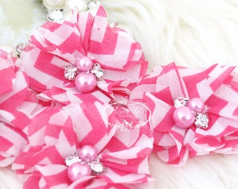 NEW: 4 pcs Aubrey PINK White Chevron Patterned  - Soft Chiffon with pearls and rhinestones Layered Small Fabric Flowers, Hair accessories
