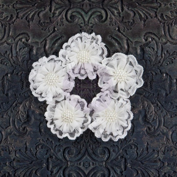 "NEW: Prima Adelynn ""WHITE"" 574703 Chiffon and Lace Fabric Flowers with Medallion Pearl on Center. Scrapbooking, Wedding, Hair Accessories."