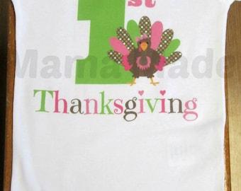 Girl's My 1st Thanksgiving Shirt or Bodysuit Pink and Green 1st Thanksgiving Turkey Shirt Girl's Thanksgiving Shirt Pink Turkey Shirt