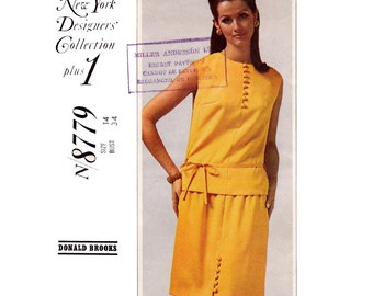 60s Donald Brooks Top & Skirt Pattern McCalls N8779 New York Designers Collection Vintage Sewing Pattern Size 14 Bust 34